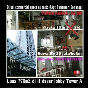 Dijual tempat usaha di bawah Apartment Tamansari Semanggi Jakarta Selatan