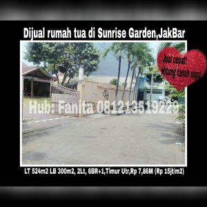 Dijual rumah di Sunrise Garden Jakarta Barat