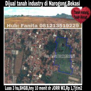 Dijual kavling industri di Cikiwul Narogong Bekasi