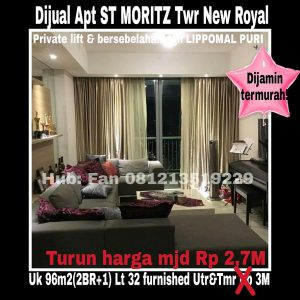 Dijual Apt ST MORITZ New Royal Puri Indah Jakarta Barat
