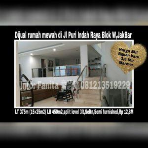 Dijual Rumah Mewah di Jl Puri Indah Raya Blok W JakBar