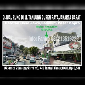 Dijual ruko di Tanjung Duren Raya Jakarta Barat