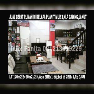 Dijual rumah di Kelapa Gading Jakarta Utara