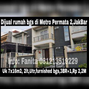 Dijual rumah di Metro Permata 2 Jakarta Barat