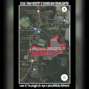 Dijual tanah industri di Cikande Serang