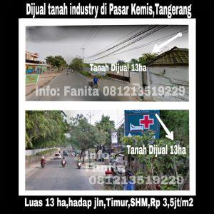 Dijual tanah industri di Pasar Kemis Tangerang