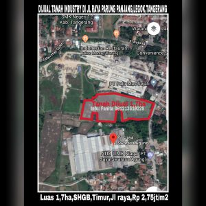Dijual tanah industri di Legok Tangerang