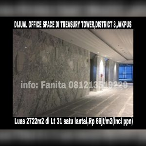 Dijual office space di DISTRICT 8 TOWER TREASURY,JAKARTA PUSAT