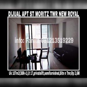Dijual cepat Apartment St Moritz di Jl Puri Indah,Jakarta Barat