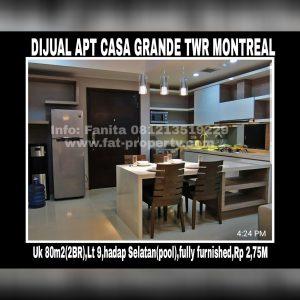 Dijual Apartemen Casagrande Tower Montreal @Kokas,Kuningan,Jakarta Selatan