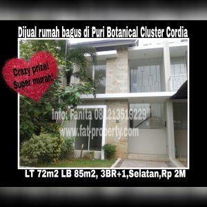Dijual rumah bagus baru di Puri Botanical,Cluster Cordia,Jakarta Barat.