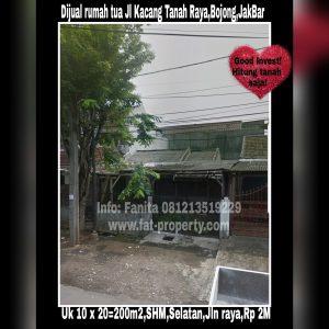 Dijual rumah tua di Jl Kacang Tanah Raya (Carina Sayang) Blok S,Bojong Indah,JakBar.