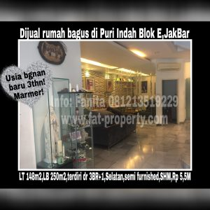 Dijual cepat rumah bagus di Puri Indah blok E,Jakarta Barat.