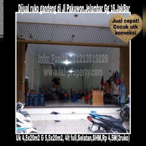 Dijual ruko gandeng di Komplek Pakuwon,Jelambar Gang 16,Jakarta Barat.