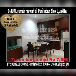 Dijual cepat rumah bagus di Puri Indah blok terelite:Blok J,Jakarta Barat.
