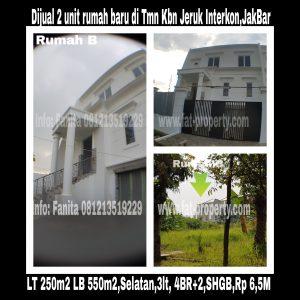Dijual 2 unit rumah putih gaya minimalis modern di Taman Kebon Jeruk Interkon Blok U,Jakarta Barat.
