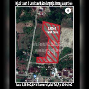 Dijual tanah di Jeruksawit,Gondangrejo,Karang Anyar,Solo dekat Tol.