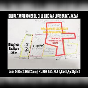 Dijual tanah komersil super strategis di Jl Lingkar Luar Barat (Jakarta Outer Ring Road West1),Jakarta Barat.