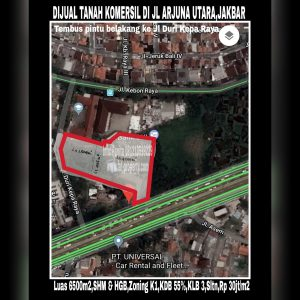 Dijual tanah komersil super strategis di Jl Arjuna Utara 17,Jakarta Barat.
