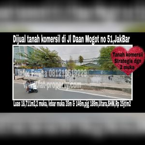 TANAH KOMERSIL SUPER STRATEGIS DI JL DAAN MOGOT dengan 2 muka!