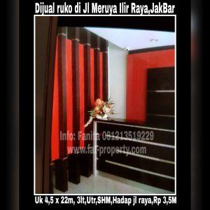 Dijual ruko hadap jalan raya di Jl Meruya Ilir Raya,Jakarta Barat.