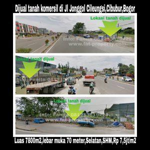 Dijual tanah komersil di Jl Jonggol Cileungsi,Cibubur,Bogor.
