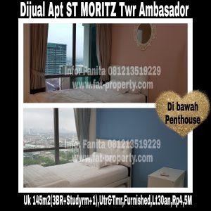 Dijual Apartment ST MORITZ Tower Ambasador luas 145m2 di lt 30an(di bwh penthouse).