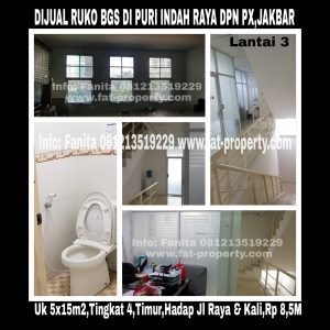 Dijual ruko hadap jalan raya belakang PX Pavilion Lippomal Puri,Jl Raya Puri Indah,Jakarta Barat,samping ruko Pandora dan pujasera Pandora.