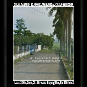Dijual tanah girik di desa Bojong Klapanunggal, Cileungsi, Bogor luas 20 Ha