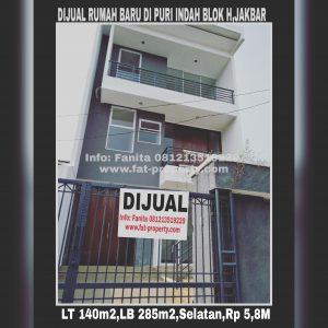 Dijual rumah baru minimalis di Puri Indah blok H,Jakarta Barat.