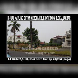 Dijual kavling perumahan di perumahan elite yg sudah terkenal dari dulu sblm Puri Indah: Taman Kebon Jeruk Interkon,Jakarta Barat.