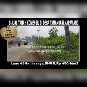 Dijual tanah komersil di Desa Tamansari, Karawang,Jawa Barat.