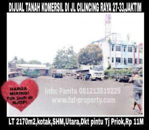 Dijual cepat tanah komersil dekat sekali dkt pintu Tanjung Priok di pinggir jln raya di Jl Cilincing Raya no 27-33,Jakarta Timur.