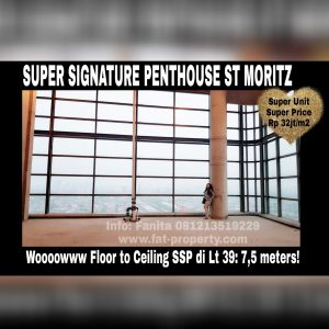 Dijual unit Super Signature Penthouse Apartment ST MORITZ Tower Ambasador, di atas unit Super Penthouse.