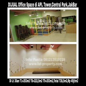 Dijual office space di APL Tower di kompleks Central Park,Podomoro City,Jl Letjend S Parman Kav 28,Grogol,Jakarta Barat.