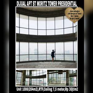 Dijual Apartment ST MORITZ Tower Presidential the best unit in the best tower unit 06 (Jika di lantai lain ukuran 269m2),special unit di lantai 10 dengan ceiling 7,5 meter bisa dibuat loft 2 lantai.