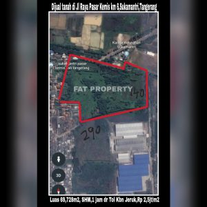 Dijual tanah di Jl. Raya Pasar Kemis KM. 6, Sukamantri, Pasar Kemis,Tangerang, Banten 15560.