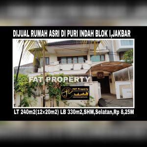 Dijual rumah di Puri Indah blok I,Jakarta Barat.Belakang Pasar Puri.
