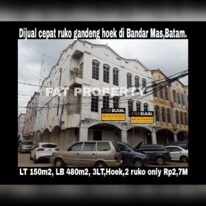 Dijual cepat ruko gandeng hoek di Bandar Mas blok F,Jl Lak Bintan,Batam.
