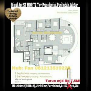 Dijual Apartment ST MORITZ Tower Presidential the best unit in the best tower ukuran 269m2.
