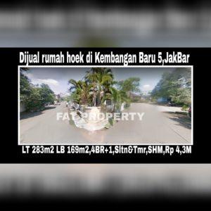 Dijual rumah sudut bagus di Perumahan Kembangan Baru Di Puri Indah Jl Kembangan Baru 5