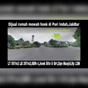 Dijual rumah hoek bagus jalan besar Puri Indah Jakarta Barat