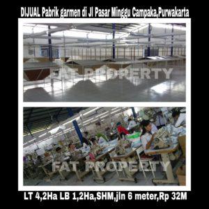 Dijual pabrik garment bagus blm ada 5thn dibgn di Purwakarta