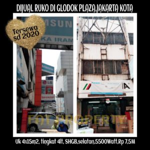Dijual ruko di Glodok Plaza Jl Pinangsia Raya,Jakarta Kota.