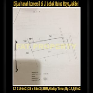 Dijual tanah komersil di pinggir jalan raya di Jl Lebak Bulus Raya,Jakarta Selatan.