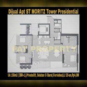 Dijual Apartment ST MORITZ Tower terbaik dan terelite, Presidential Tower(hanya 4 unit per lantai,privatelift)