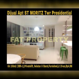 Dijual Apartment ST MORITZ Tower terbaik dan terelite, Presidential Tower(hanya 4 unit per lantai,privatelift)