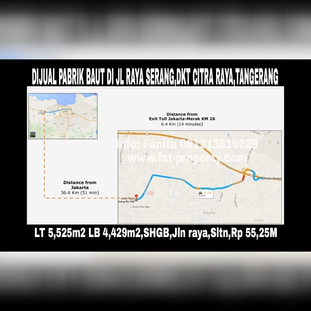 Dijual pabrik baut di Jalan Raya SerangKM.14.8,Cikupa, Tangerang 15710.