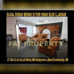 Dijual/disewakan rumah mewah bagus strategis di Puri Indah Blok C,Jakarta Barat.