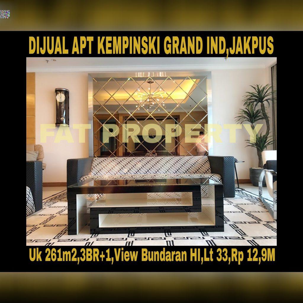 Dijual Apartement Kempinski Grand Indonesia Jakarta Pusat diBunderan HI,Jl MH Thamrin,Jakarta Pusat.